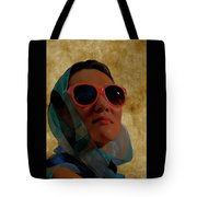 Woman In Scarf And Sunglasses Tote Bag