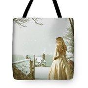 Woman In Snow Scene Tote Bag