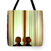 Woman In Soft Light Reflected Tote Bag