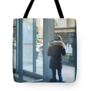 Woman In Storefront Tote Bag