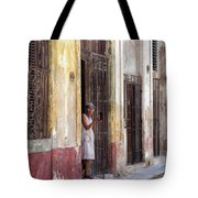 Woman In The Door Tote Bag