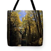 Woman In The Falling Leaves Tote Bag