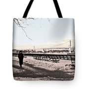 Woman In The Snow Tote Bag