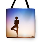 Woman In Tree Yoga Pose Meditating At Sunset Tote Bag