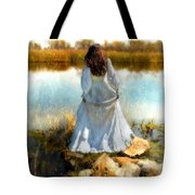 Woman In Victorian Dress By Water Tote Bag