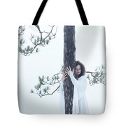 Woman In White Dress Hugging A Tree Tote Bag