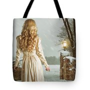Woman In Winter Scene Tote Bag
