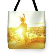 Woman Jumping At Oporto Tote Bag