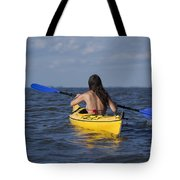 Woman Kayaking Tote Bag
