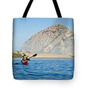 Woman Kayaking In Morro Bay Tote Bag by Bill Brennan - Printscapes