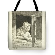 Woman Leaning On Arms In Window Opening Tote Bag