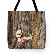 Woman Leaning On Giant Sequoia Tree Tote Bag