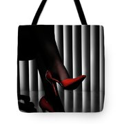 Woman Legs In Red Shoes Tote Bag