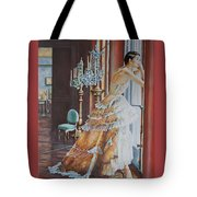 Woman Looking Out Of A Window Tote Bag