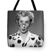 Woman Looking Over Her Glasses Tote Bag