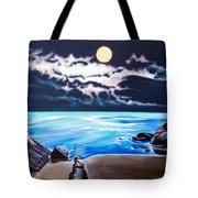 Woman On A Cliff And The Beautiful See Tote Bag