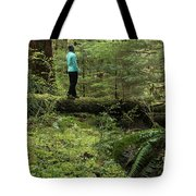 Woman On A Moss Covered Log In Olympic National Park Tote Bag