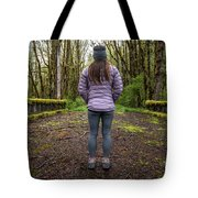 Woman On An Old Moss Covered Bridge In Olympic National Park Tote Bag