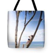 Woman On Holiday Tote Bag