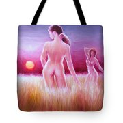 Woman On The Fields Of Gold Tote Bag