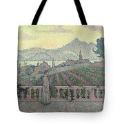 Woman On The Terrace Tote Bag