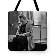 Woman Phone Night Tote Bag