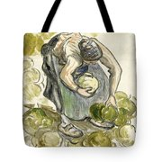 Woman Picking Cabbage Tote Bag