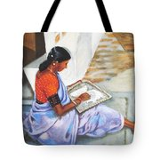 Woman Picking Rice Tote Bag