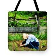 Woman Planting Garden Tote Bag