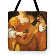 Woman Playing A Lute Tote Bag