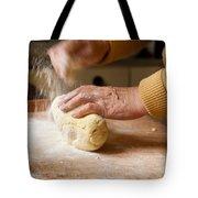 Woman Preparing Dough For Kopytka Tote Bag