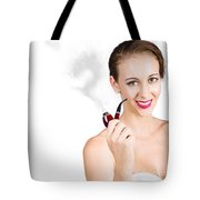 Woman Problem Solving With Pipe Tote Bag