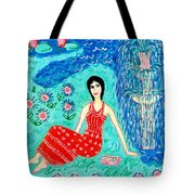 Woman Reading Beside Fountain Tote Bag