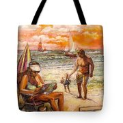 Woman Reading On The Beach Tote Bag