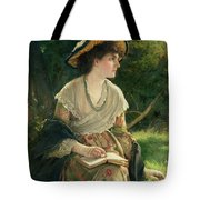Woman Reading Tote Bag