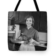 Woman Removing Roast From Oven, C.1960s Tote Bag