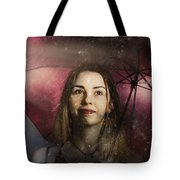 Woman Resilient In Storm Through Positive Thinking Tote Bag