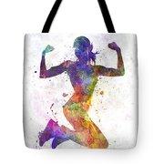 Woman Runner Jogger Jumping Powerful Tote Bag