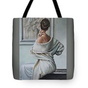 Woman Sat In A Gallery Tote Bag