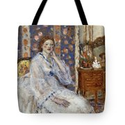 Woman Seated In An Armchair Tote Bag