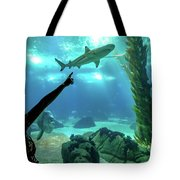 Woman Shark Enjoyng Tote Bag