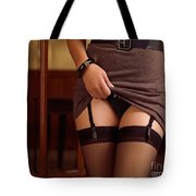 Woman Showing Her Sexy Lingerie Tote Bag