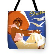 Woman Sitting On A Cruising Ship Tote Bag