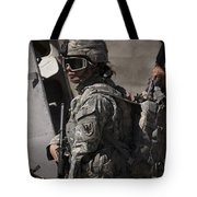 Woman Soldier Conducts A Combat Tote Bag