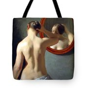 Woman Standing In Front Of A Mirror 1841 Tote Bag