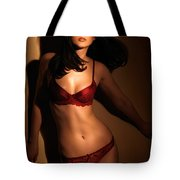 Woman Standing In Light Coming Through A Window Tote Bag