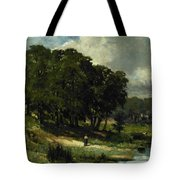 Woman Standing Near A Pond Tote Bag