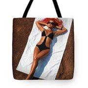 Woman Sunbathing Tote Bag