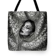 Woman Surrounded By Cloth Of Paisley Prints Tote Bag