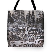 Woman Tie Hack Historical Vignette From River Mural Tote Bag